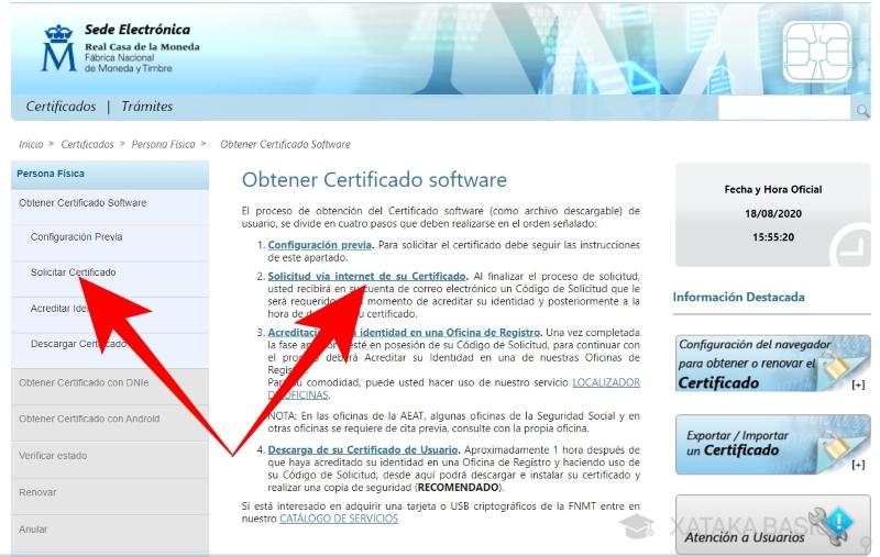 Solicitar certificado digital FNMT